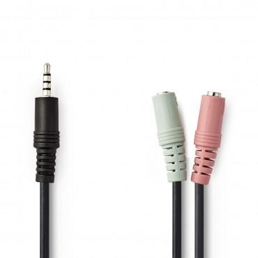 CAGP22150BK02: Headset Audio Cable | 3.5 mm Male - 2x 3.5 mm Female | 0.2 m | Black
