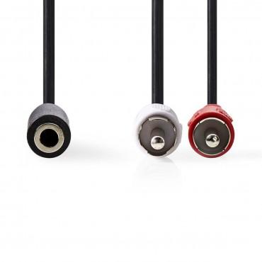 CAGP22255BK02: Stereo Audio Cable | 2x RCA Male - 3.5mm Female | 0.2 m | Black