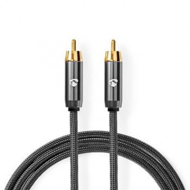 CATB24100GY: Subwoofer cable | RCA Male - RCA Male | Gun Metal Gray | Braided cable