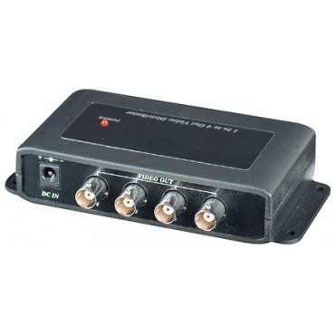 CD104HD: HD-TVI / AHD / HDCVI / CVBS 1 in 4 out Video Distribution Amplifier, Power supply DC12V