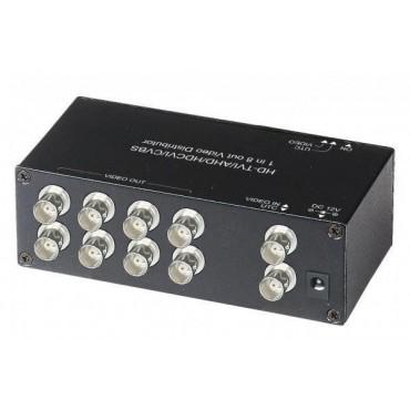 CD108HD: HD-TVI / AHD / HDCVI / CVBS Video Distributor, 1 input 8 output