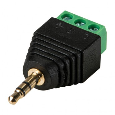 CON298 : Jack connector 3.5 mm Stereo with output +/- of 2 terminals - 1 unit
