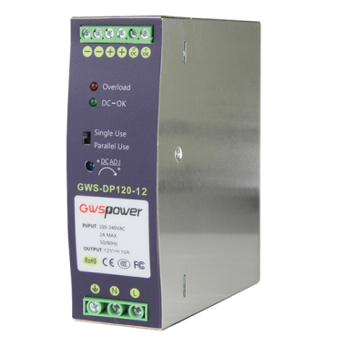 DC12V10A-DIN: Switching Power Supply - DC Output 12V 10A / 120W - 2 outputs - Input voltage 90 V ~ 264 V - 135 (D) x 121 (H) x 40 (W) mm - DIN rail mount
