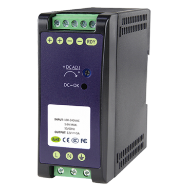 DC12V5A-DIN: Switching Power Supply - DC Output 12V 5A / 60W - 2 outputs - Input voltage 90 V ~ 264 V - 100 (D) x 94 (H) x 40 (W) mm - DIN rail mount