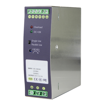 DC48V2A-DIN: Switching Power Supply - DC Output 48V 2.5A / 120W - 2 outputs - Input voltage 90 V ~ 264 V - 134 (D) x 124 (H) x 41 (W) mm - DIN rail mount