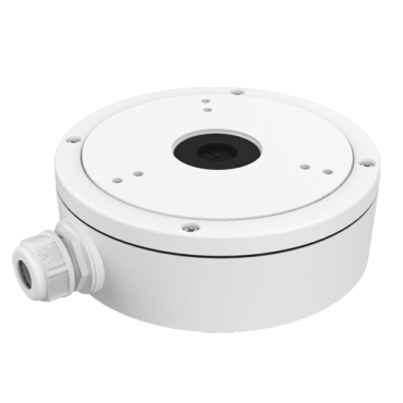 DS-1280ZJ-M: Connection box - For dome cameras - Suitable for outdoor use - Wall or ceiling installation - White colour - Cable pass