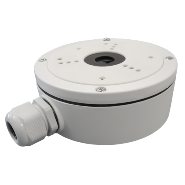DS-1280ZJ-S: Connection box - For dome cameras - Suitable for outdoor use - Wall or ceiling installation - White colour - Cable pass