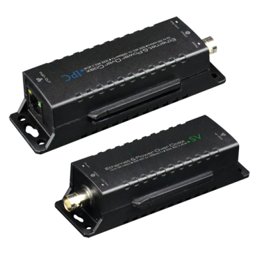 EOC-300-POE: IP extender coaxial cable | PoE - Passive - Transmitter and receiver - Allows transmission 1 IP channel - Maximum distance 300 m (up to 500 m with DIP switch) - Bandwidth up to 100 Mbps