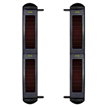 IBS-SH-100-4: Solar infrared barrier detector - Completely wireless | 4 beams - Signal range up to 1000m - Max distance. 100m of detection - Automatic regulation against interference - Power 3.3V internal battery