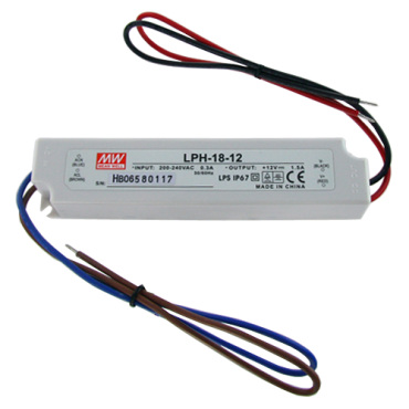 LPH-18-12: Water resistant power supply, 12V / 1.500mA, Stabilized, IP67, Input and output per pair copper, Maneuverable and easy installation