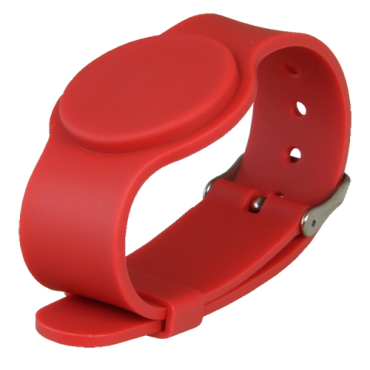 VT-MIFARE-BAND-ADJ-BR: Proximity bracelet - Identification by radio-frequency - Mifare passive | maximum security - Frequency 13,56 MHz - Red colour - Adjustable strap