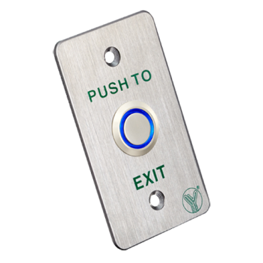 VT-PBK-814B-LED: Door release button - Piezoelectric - Contact NO / NC / COM - Flush or Surface mount with MBB-811B-M - Size 86x50x31 mm - Stainless steel construction