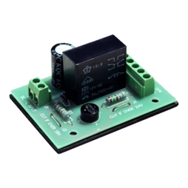 PCB-503: Relay module - Set a delay in opening - Double exit - Small size - Suitable for all types of doors - 12VDC power