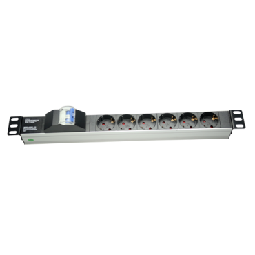PDU-6PN : Multiple power socket, Rackable format, 6 outputs up to 250VAC / 16 A max., 1U size for easy installation, Automatic switch for security, Color black