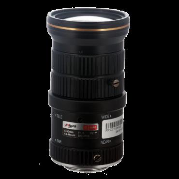 "PFL0550-E6D: Lens with CS thread - Quality 6.0 Mpix - AutoIris Direct Drive (DC) - Varifocal: 5 to 50 mm - 1/2.7"" / F1.6 - IR correction"