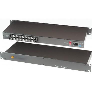 PR816-12D : Power Supply in 1U Rack Mounting Panel , 8Amp DC12V NON-Regulated 16 Port