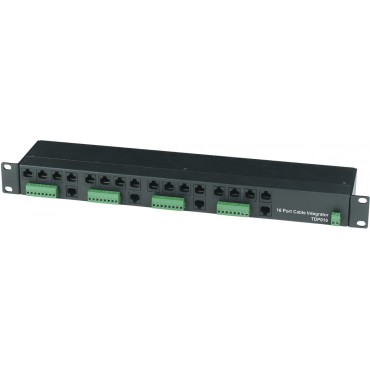 TDP016: CVBS 16 Port Cable Integrator (Video, Power, Data) In 1U Rack Mounting Panel, RJ45 connection