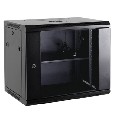 """VT-RACK-12UN: Rack cabinet for wall - Up to 12U rack of 19"""" - Up to 60 kg load - With ventilation and cable passage - 2 fans and tray included - Aluminum strip of 6 jacks"""