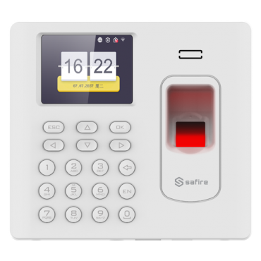 SF-AC3012KEMDW-IPW: Time & Attendance control - Fingerprint, EM Card and PIN - 3.000 recordings / 100.000 records - TCP/IP, USB and WiFi - Presence Modes | White Color - Software Safire Control Center AC