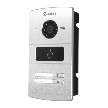 SF-VI107E-IP: IP video intercom for 2 apartments - Camera 1,3Mpx - Bidirectional audio - Mobile App for remote monitoring - Stainless steel, vandal proof - Flush mounted