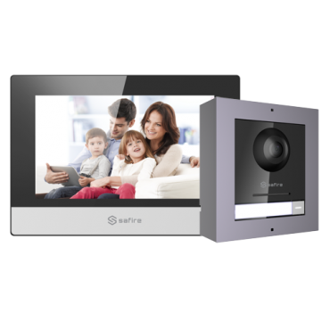 SF-VIK001-S-IP: Video-intercom kit - IP Interface - Includes panel and monitor - Opening with Mifare card - Mobile App with P2P - Surface mounting