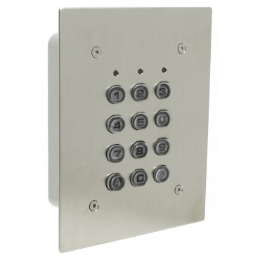 SU1-EAB : Inox mortice mounted housing - polycarbonate keys - 12V AC/DC - IP65 - 1 relais CRT 1A / 1 open collector 250 mA