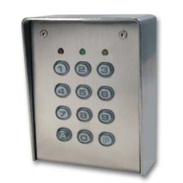 SU1-SAB : Inox Housing - Polycarbonate keys - surface mounting - 12V AC/DC - IP65 - 1 relais CRT 1A / 1 open collector 250 mA