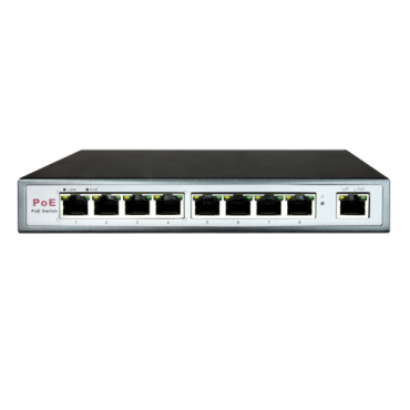 SW0904POE-65W : Switch PoE, 8 ports (4 PoE) + 1 Uplink RJ45, Speed 10/100Mbps, 25.5W per port / Total maximum 60W, Transmission distance up to 100m, Norm IEEE802.3at (PoE) / af (PoE+)