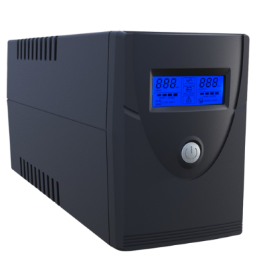 UPS600VA-2: Single-phase Line Interactive UPS - Power 600VA/360W - Input 220~240VAC / Output 230 VAC - 2 surge protected outputs - Recharge time 6~8 h - Sealed lead-acid battery