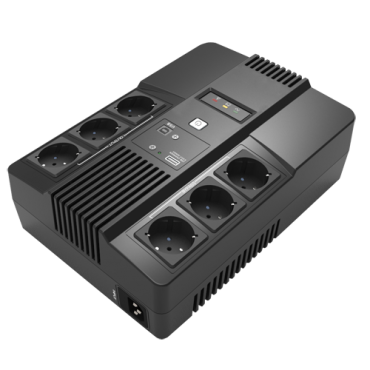 UPS800VA-6: Single-phase Line Interactive UPS - Power 800VA/480W - Input 220~240VAC / Output 230 VAC - 6 surge protected outputs - Recharge time 6~8 h - Sealed lead-acid battery