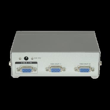 VGA-SPLITTER-2: Multiplier by 2 of the video signal - 1 VGA input - 2 VGA outputs - It allows to distribute the signal to up to 2 monitors - VGA, SVGA, XGA, Multisync