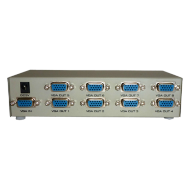 VGA-SPLITTER-8: Multiplier by 8 of the video signal - 1 VGA input - 8 VGA outputs - It allows to distribute the signal to up to 8 monitors - VGA, SVGA, XGA, Multisync
