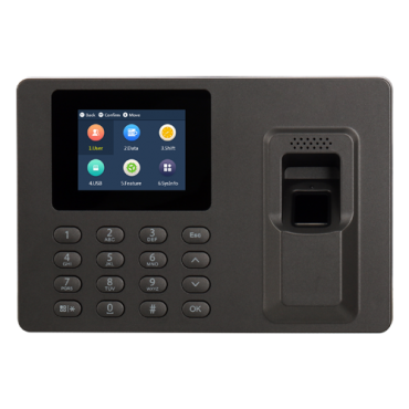 XS-AC1222-PF-LITE: X-Security Time Attendance Terminal - Fingerprints and keyboard - 10.000 recordings / 100.000 records - USB interface for device management - Reading time less than a 1.5s - Direct export from Excel to USB