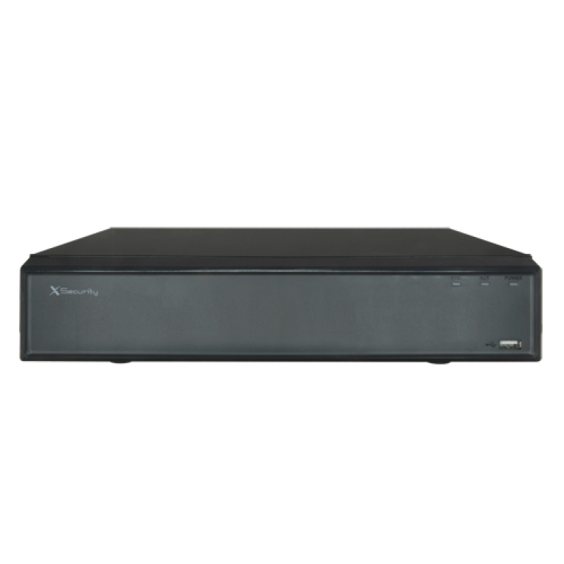 XS-NVR2104-4K4PH: X-Security NVR for IP cameras - 4 CH IP and 4 PoE ports - Maximum recording resolution 8 Mpx - Compression H.265 / H.264 - Outputs 4K HDMI & VGA - Supports 1 hard disk