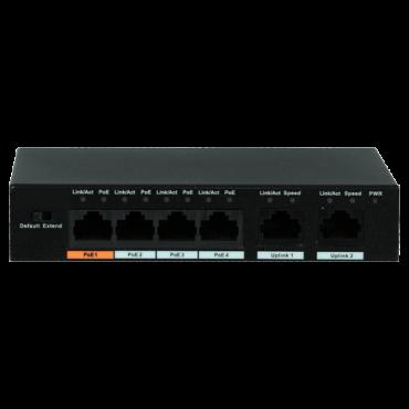 XS-SW0604-60-HIPOE: X-Security PoE Switch - 4 PoE ports + 2 Uplink port - Speed 10/100Mbps - Port 60W 1 / ports 30W 2-4 / maximum 60W - CCTV mode up to 250m at 10Mbps - Hi-PoE / IEEE802.3at (PoE+) / af (PoE+)