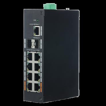 XS-SWI1108HIPOE-G120DIN: Industrial Switch X-Security - 8 PoE ports (RJ45) + 2 Gigabit ports (SFP) + 1 Uplink Gigabit port - Speed 10/100/1000Mbps - Maximum consumption 120W - Energy Saving Technology - DIN Rail Installation