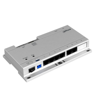 XS-V1060SW-IP: Specific PoE switch - 6 IP output ports - Connection RJ45 IN/OUT Ethernet - TCP / IP with RJ45 - Powers IP video intercoms - Surface or DIN rail mounting
