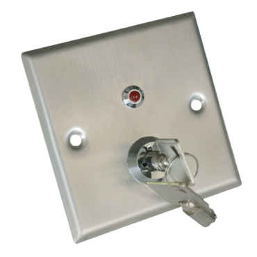 VT-YKS-850LS: Push button with key - NO/NC/COM/TAMP/LED - Tested 500.000 uses - NO/NC/COM/TAMP/LED - Size 86x86x20 mm - Stainless steel construction