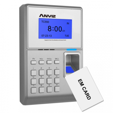 TC550 : Access Control and Presence Terminal, fingerprints, RFID Card and keyboard, 2000 recordings / 50000 records, TCP / IP, USB, USB Flash, Wiegand, relay, 8 presence Control Modes, Software CrossChex